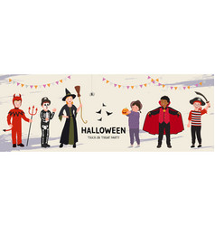 halloween party poster group funny kids vector image