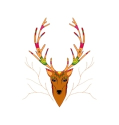 Hand Drawn of Christmas deer vector image