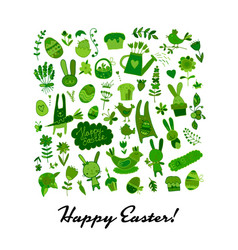 happy easter icons collection for your design vector image