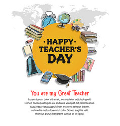 Happy teacher day yellow circle concept vector