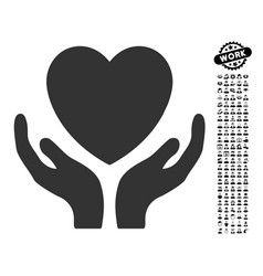 heart care icon with people bonus vector image