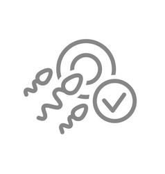 human fertilization with tick checkmark line icon vector image