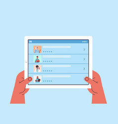 Human hands using tablet pc choosing doctor in vector