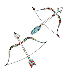 indian bow and arrows hand drawn vector image
