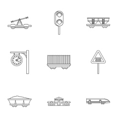 Iron way road icons set outline style vector