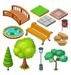 Isometric summer park landscape elements set vector
