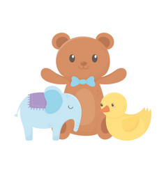 Kids zone teddy bear duck and elephant toys vector