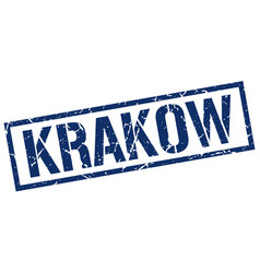 krakow blue square stamp vector image