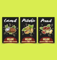 labels coconut pistachio peanut vector image