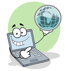 Laptop Holding a Globe vector image