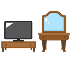 Lcd tv with dressing table vector