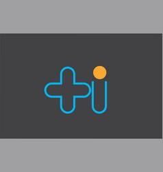 letter h logo line alphabet design icon in blue vector image
