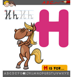 letter h with cartoon horse vector image