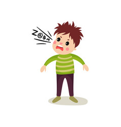 Little child gets mad and loudly swears cartoon vector