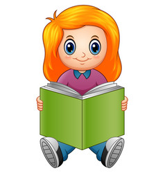 Little girl cartoon reading a book vector