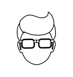 Man faceless head glasses vector