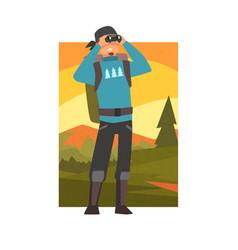 man with backpack looking through binoculars guy vector image