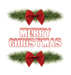 merry christmas red ribbon and grass vector image