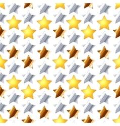 metallic stars on white seamless pattern vector image