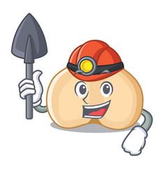 Miner chickpeas mascot cartoon style vector