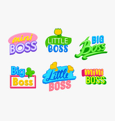 mini boss banners or labels set kids design vector image