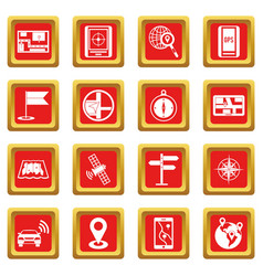 Navigation icons set red vector