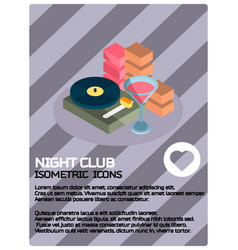 night club color isometric poster vector image