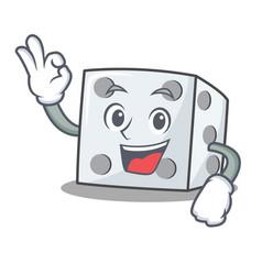 Okay dice character cartoon style vector