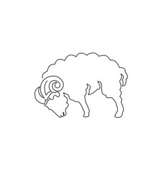 one continuous line drawing cute sheep vector image