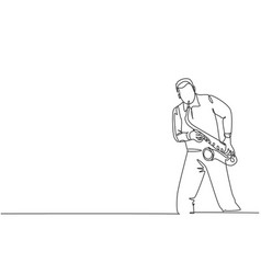one continuous line drawing young happy male vector image