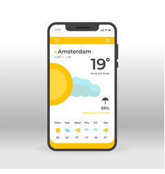 orange and yellow weather ui ux gui screen for vector image