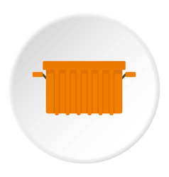 orange garbage tank icon circle vector image