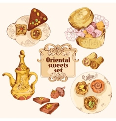 Oriental sweets colored set vector image