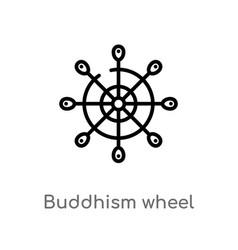 outline buddhism wheel icon isolated black simple vector image