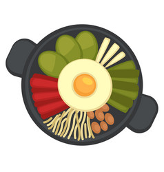 Pan with fried egg and vegetables restaurant vector