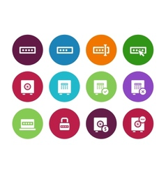 Password circle icons on white background vector