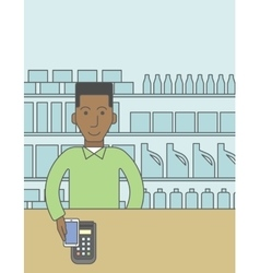 Paying using smartphone vector image