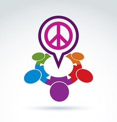 People chat on harmony idea Conceptual antiwar vector