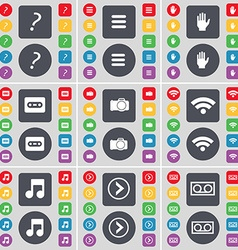 Quotation mark apps hand cassette wi-fi note arrow vector