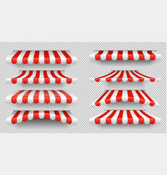 Red and white sunshade outdoor awnings for cafe vector