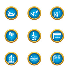 Rejoicing icons set flat style vector