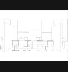 room computer table chair and window vector image