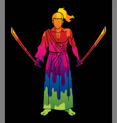samurai warrior standing with swords cartoon vector image
