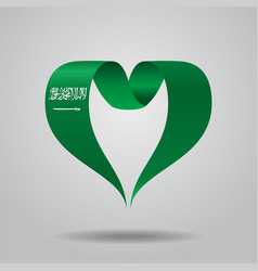 Saudi arabian flag heart-shaped ribbon vector
