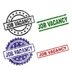 scratched textured job vacancy stamp seals vector image