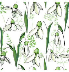 seamless floral decorative pattern with snowdrops vector image