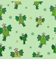seamless hand-drawn pattern with funny birds vector image
