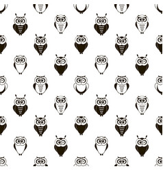 seamless pattern with cute cartoon black owls vector image