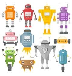 Set of cute vintage robots vector