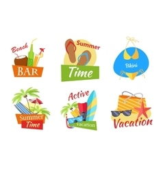 Set of Summer Vacation Conceps vector
